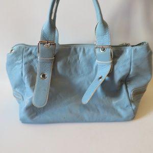 WOMENS BARNEYS BLUE LEATHER SHOULDER BAG *